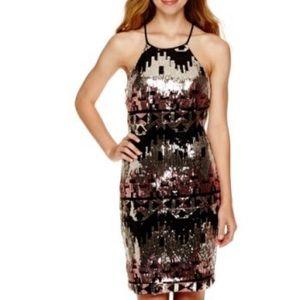 My Michelle Aztec Sequins Halter Dress Gorgeous!